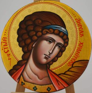 Guardian Angel Round Icon Hand Painted Byzantine Orthodox