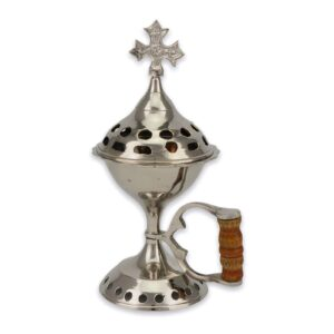 Nickel Plated Brass Incense Burner with Wooden Handle Orthodox Church