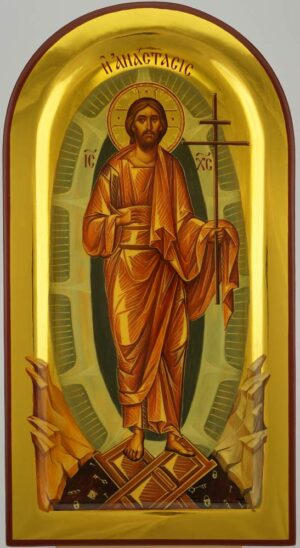 Resurrection Anastasis Icon Hand Painted Byzantine Orthodox Polished Gold