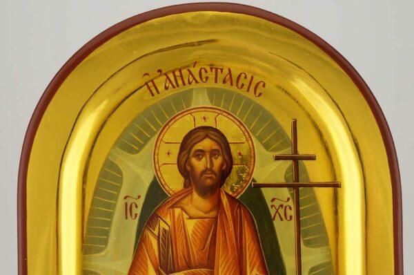 Resurrection Anastasis Icon Hand Painted Byzantine Orthodox Polished Gold