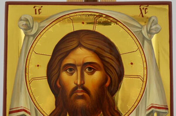 The Holy Face Ubrus Hand Painted Orthodox Icon with Polished Gold Leaf