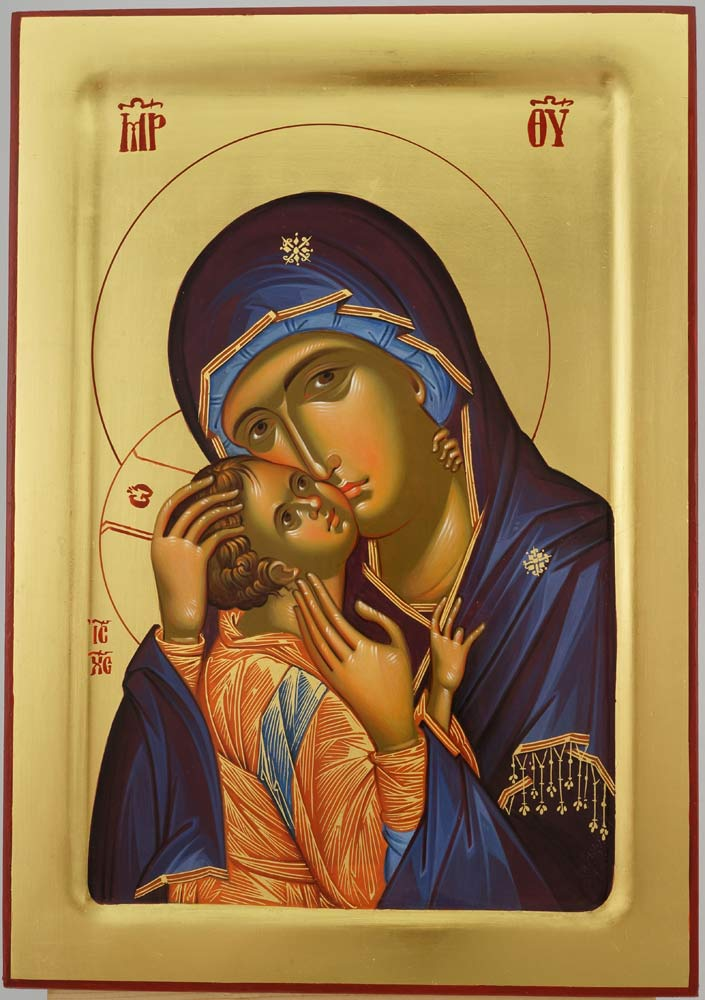 Theotokos Tenderness Icon Hand Painted Byzantine Orthodox