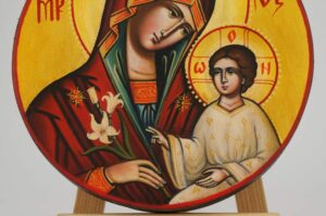 Theotokos The Guide Round Icon Hand Painted Byzantine Orthodox
