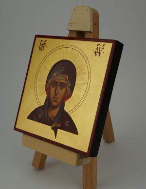 Virgin Mary Icon Decorated Halo Hand Painted Byzantine Orthodox