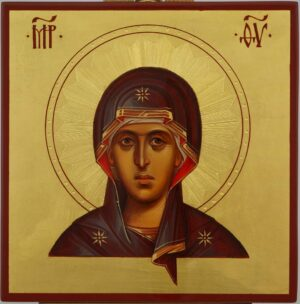 Virgin Mary Icon Decorated Halo Hand Painted Byzantine Orthodox