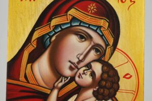 Virgin Mary Tenderness Icon Hand Painted Byzantine Orthodox