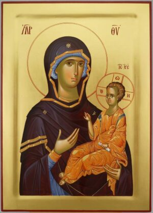 Virgin Mary the Guide Icon Hand Painted Byzantine Orthodox Cretan