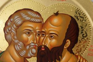Apostles Peter and Paul Embracing Round Icon Hand Painted Greek Orthodox Byzantine