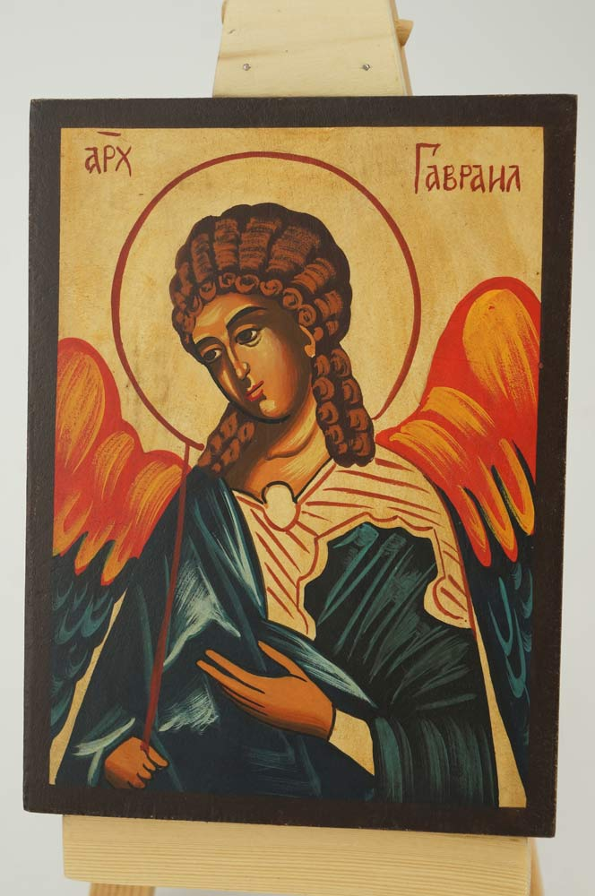 Archangel Gabriel Icon small Hand Painted Byzantine Orthodox