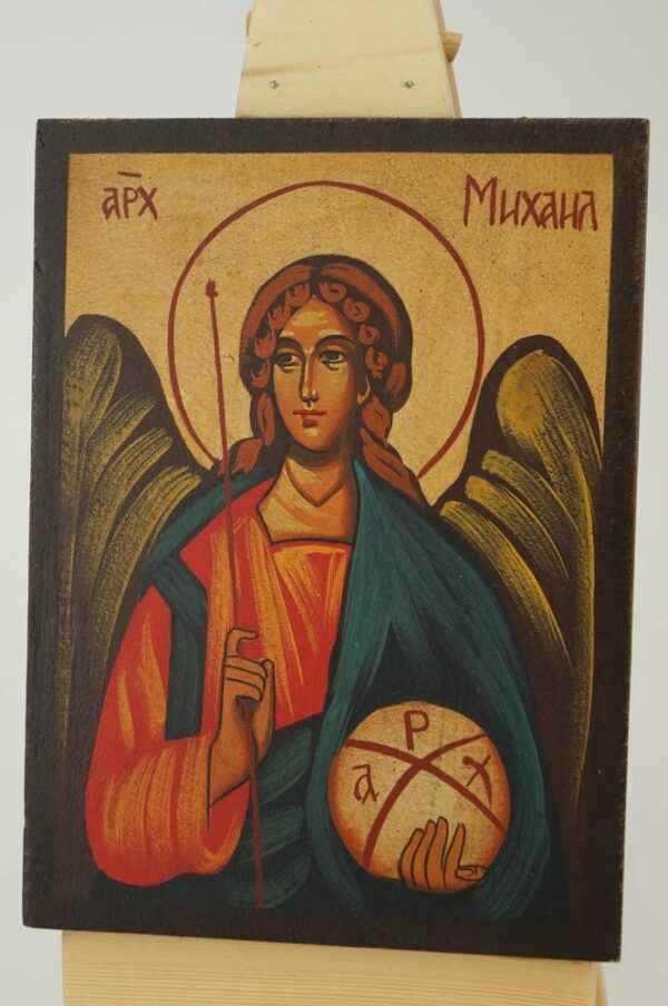 Archangel Michael Icon small Hand Painted Byzantine Orthodox