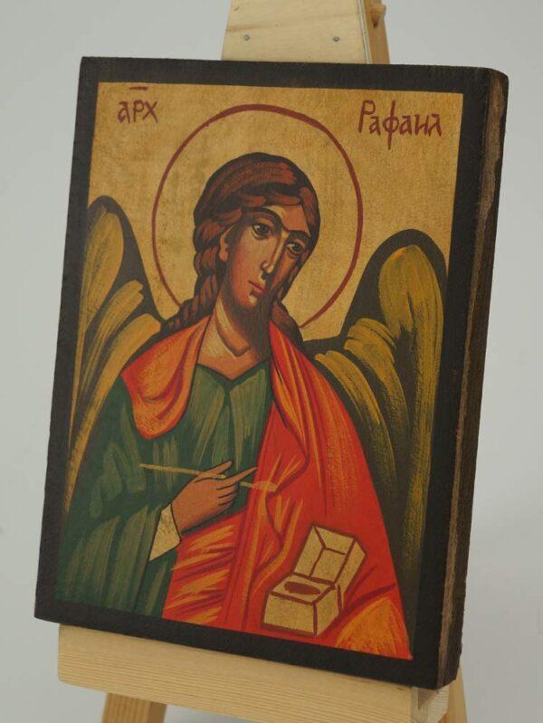 Archangel Raphael Icon small Hand Painted Byzantine Orthodox