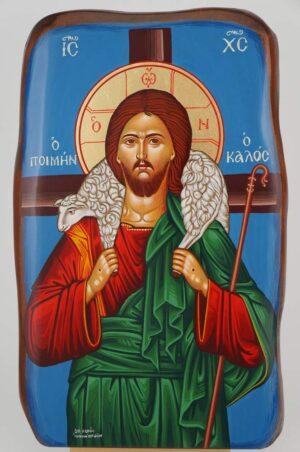 Christ the Good Shepherd Icon Hand Painted Greek Orthodox Byzantine