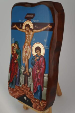 Crucifixion Icon Hand Painted Greek Orthodox Icon on Solid Wood