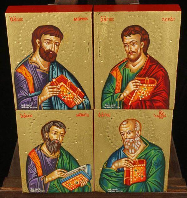 Four Evangelists Icon Set Hand Painted Greek Orthodox Byzantine