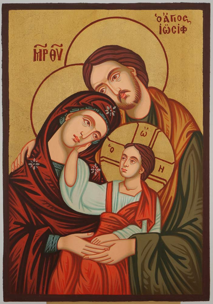Holy Family Icon small Hand Painted Byzantine Orthodox