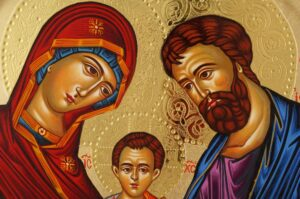 Holy Family Round Icon Hand Painted Greek Orthodox