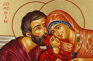 Joachim and Anna Icon Hand Painted Greek Orthodox Byzantine