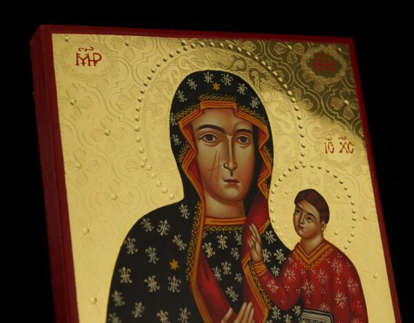 Our Lady of Czestochowa Icon Hand Painted Greek Orthodox Polished Gold