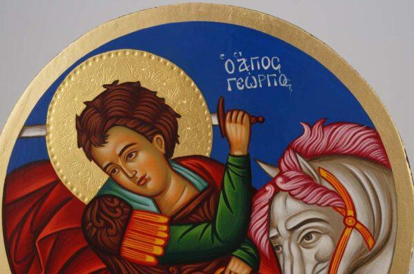 Saint George Round Icon Hand Painted Greek Orthodox Byzantine