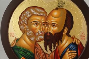 Saints Peter and Paul Embracing Round Icon Hand Painted Greek Orthodox Byzantine