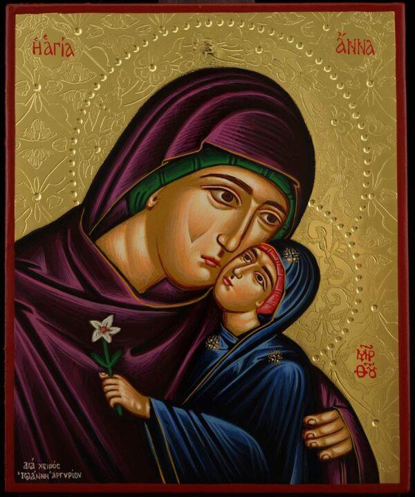 St Anna and Theotokos Icon Hand Painted Greek Orthodox Byzantine