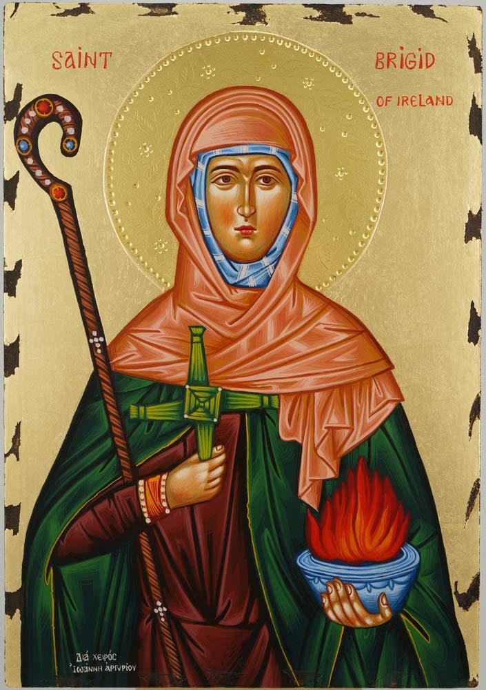 St Brigid of Ireland Icon Hand Painted Greek Orthodox Byzantine