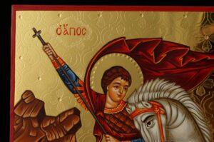 St George and the Dragon Icon Hand Painted Greek Orthodox Byzantine Polished Gold