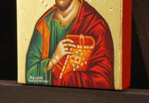 St Luke the Evangelist Icon polished gold miniature Hand Painted Greek Orthodox
