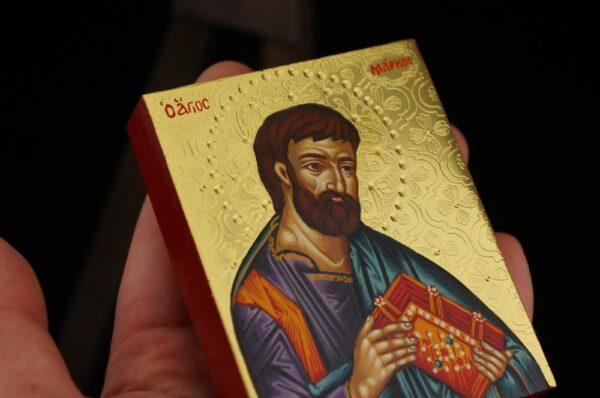 St Mark the Apostle Icon polished gold miniature Hand Painted Greek Orthodox Byzantine