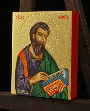 St Matthew the Evangelist Icon polished gold miniature Hand Painted Greek Orthodox