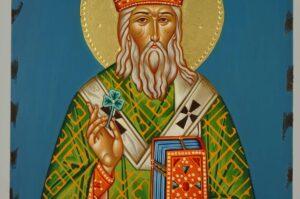 St Patrick of Ireland Icon Hand Painted Greek Orthodox Byzantine