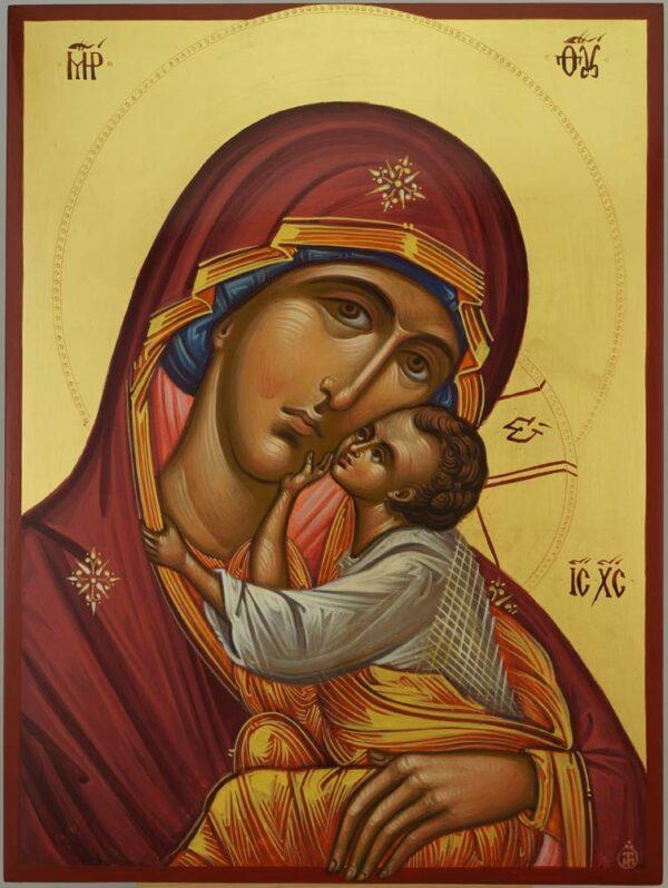 Theotokos Sweet Kissing Icon Hand Painted Byzantine Orthodox