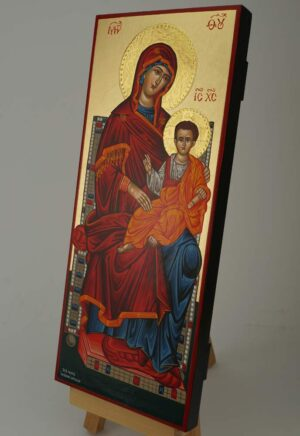 Virgin Mary Enthroned Icon Hand Painted Greek Orthodox Byzantine